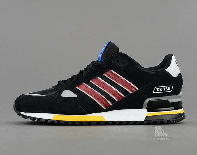 85092cd0d40c6 A slick new look for the ZX 750 arrives from adidas Originals in Black and  Cardinal red.
