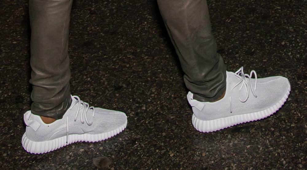 Kanye West wearing the adidas Yeezy 350 Boost in Silver/White