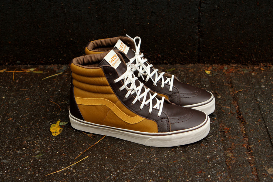 vans leather sk8 hi brown