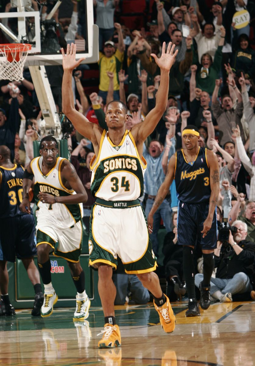 8f2dfd841b3 Ray Allen wearing the 'Mustard' Suede Yellow Air Jordan XX1 PE