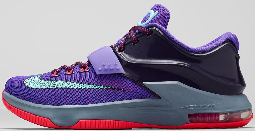 buy online 75593 7e64c Nike KD 7 Python Hyper Punch Hyper Grape Magnet Grey