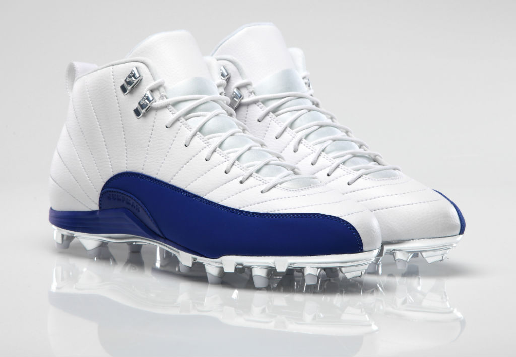 Air Jordan 12 XII PE Cleats Dez Bryant White/Blue