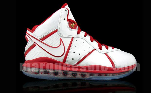 0281a378b34 Nike Air Max LeBron 8 White Metallic Gold Varsity Red Un-China