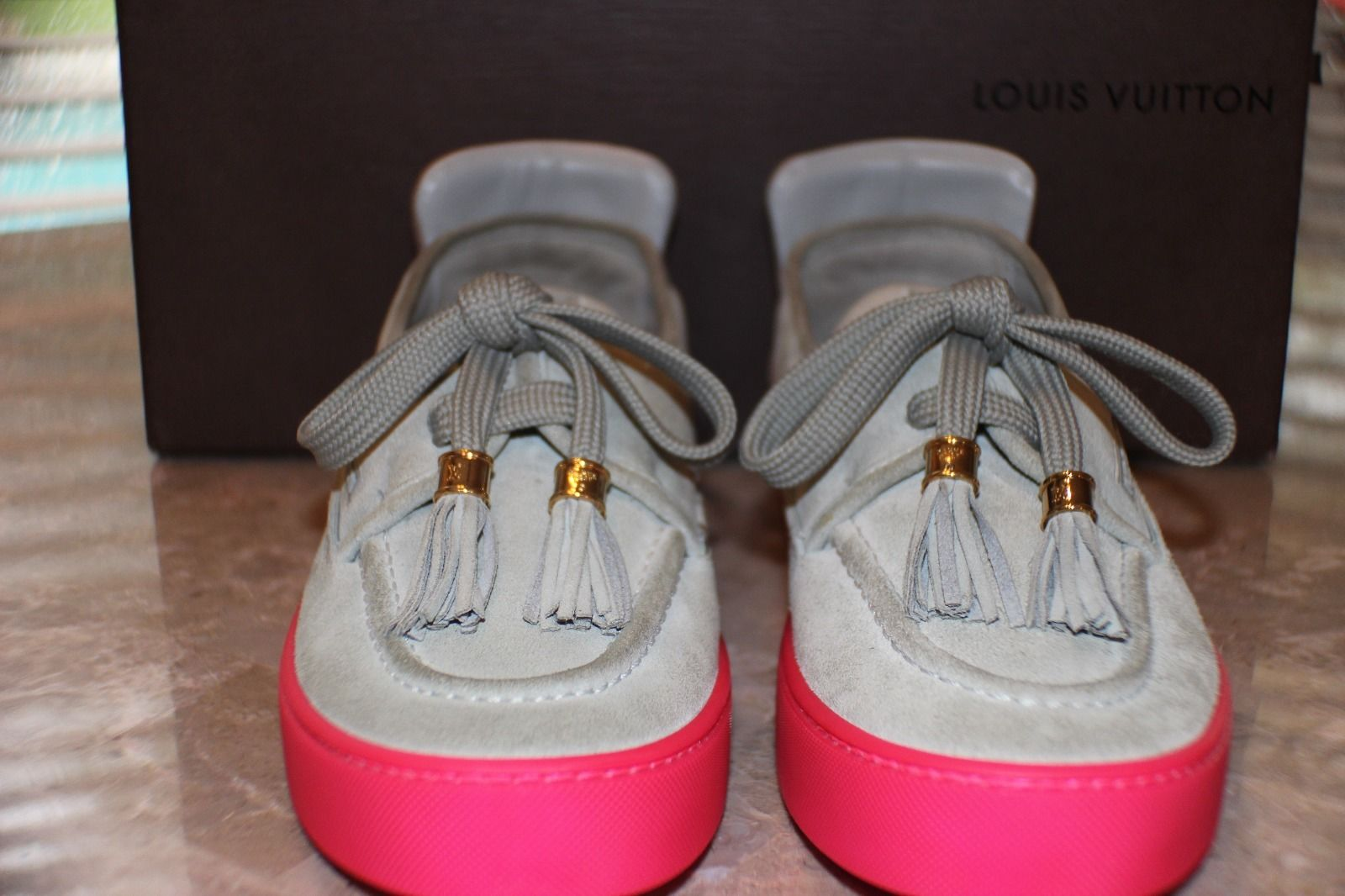 d14b67b6e773 Kids Selling Kanye West Signed Louis Vuitton Hudson Sneakers Front