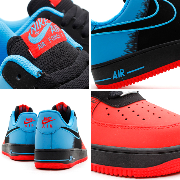 Nike Air Force 1 Low Spiderman in Light Crimson Black and Vivid Blue details