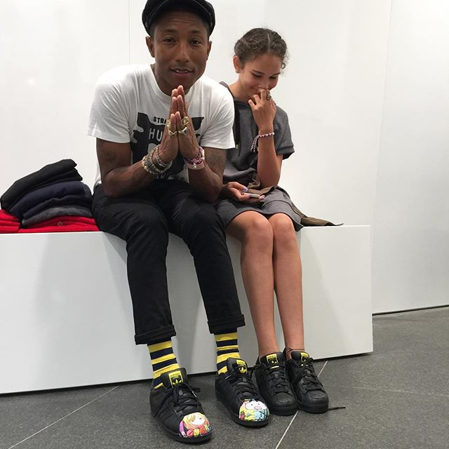 ce97ae686 Pharrell Williams wearing the adidas Superstar Supershell