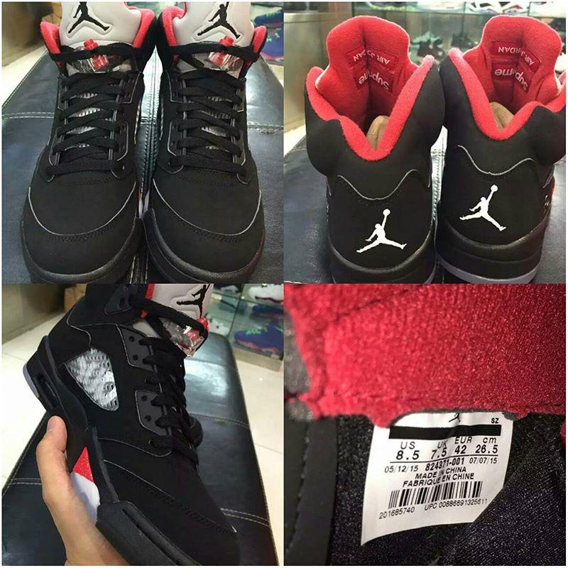 798f08dea3f Fresh Shots of the Upcoming 'Black' Supreme x Air Jordan 5 | Sole ...