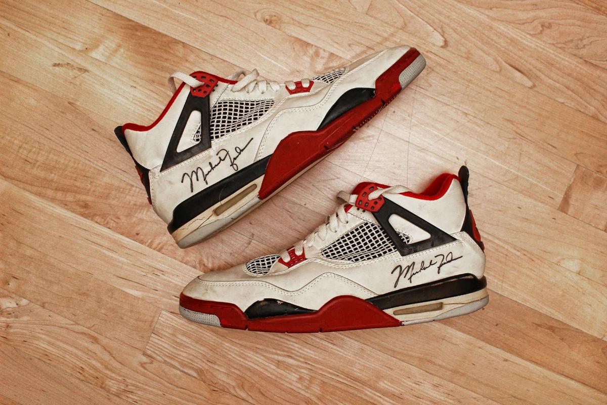 Michael Jordan Game-Worn Air Jordan 4 Fire Red from 1989 Pair