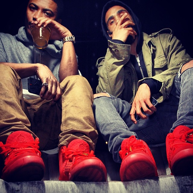 17d306a95d47f Ibn Jasper wearing Nike Air Yeezy 2 Red October