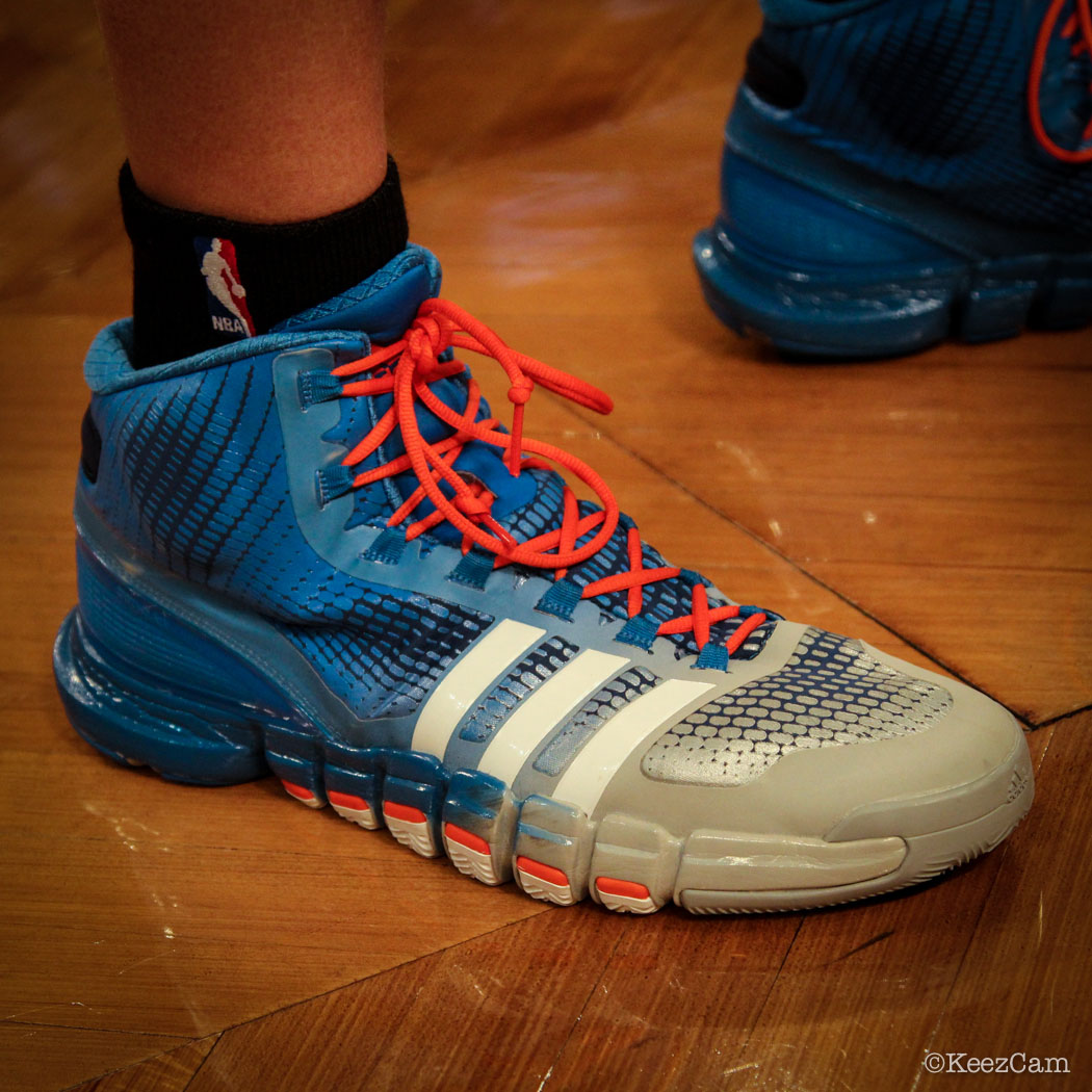 SoleWatch // Up Close At Barclays for Nets vs Knicks - Cole Aldrich wearing adidas Crazyquick