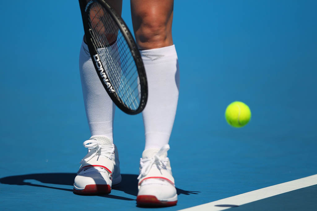 Bethanie Mattek-Sands wearing Under Armour Micro G Bloodline