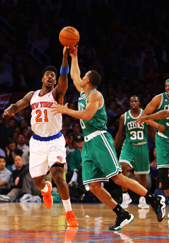 Iman Shumpert wearing adidas Top Ten 2000 2WO 1NE; Avery Bradley wearing adidas Real Deal