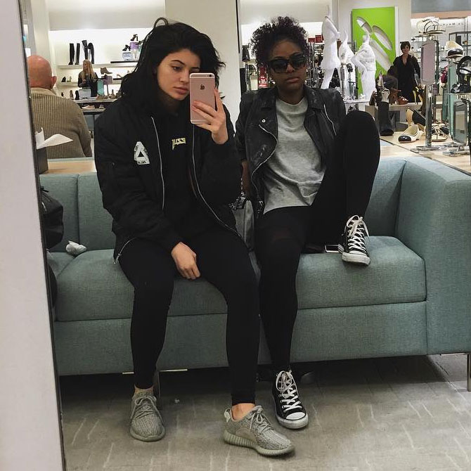 45e530549 Kylie Jenner wearing the  Moonrock  adidas Yeezy 350 Boost