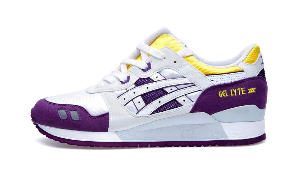 asics gel lyte white purple yellow