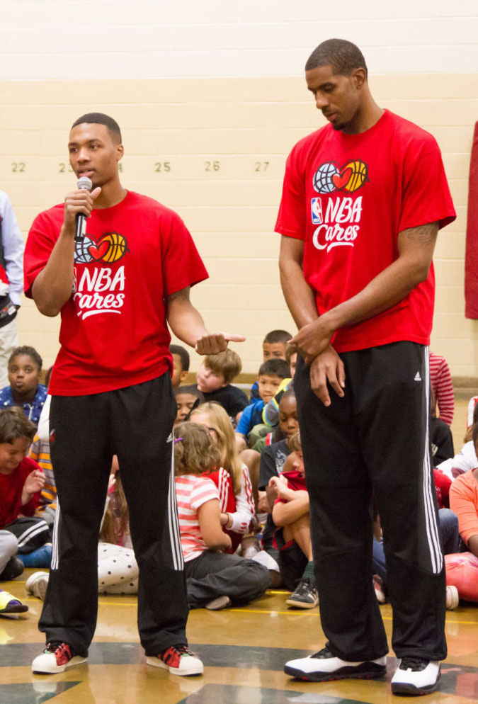 Damian Lillard wearing adidas Originals Superstar; LaMarcus Aldridge wearing Air Jordan 10 X Retro Chicago
