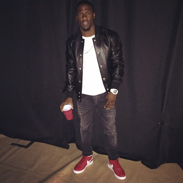 Kevin Hart wearing Supreme x Nike Air Force 1 High Red