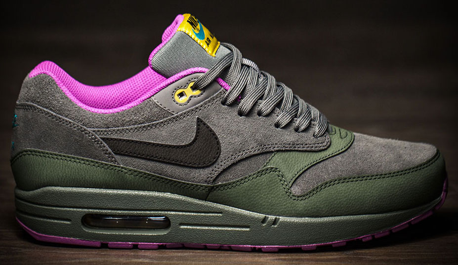 Air Max 1 Étain Noir / Carbone Vert Fuchsia Flashdance