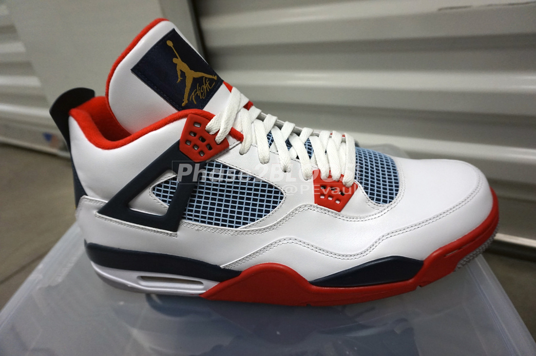Carmelo Anthony Air Jordan 4 White/Red-Navy-Gold PE (2012)
