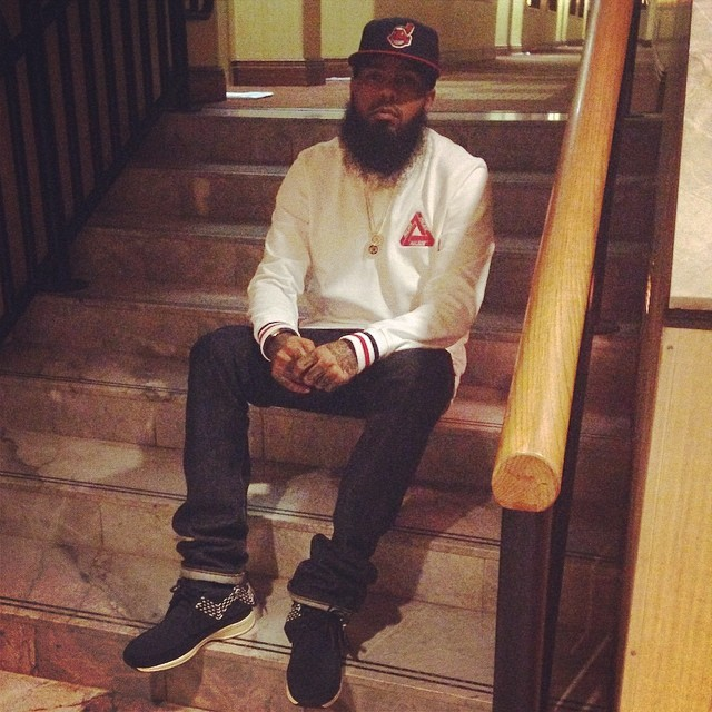 Stalley wearing Visvim FBT Sashiko