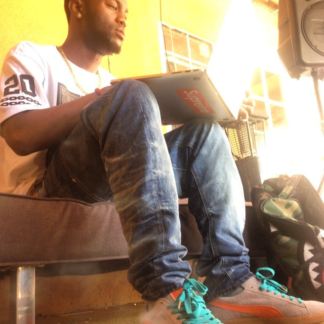 Casey Veggies wearing Anwar Carrots x PUMA Suede Grey
