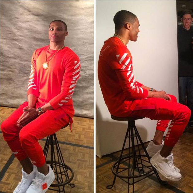 Russell Westbrook wearing Air Jordan III 3 White