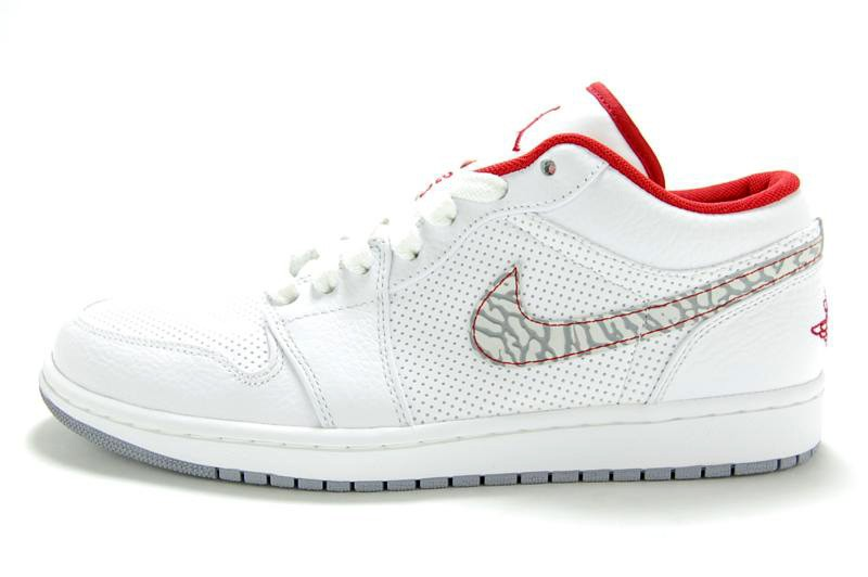 Air Jordan 1 Phat Low White Varsity Red Cement Grey 338145-113