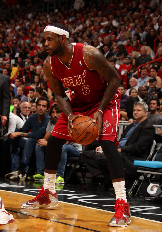 LeBron James Wears Nike LeBron 11 Red/Silver PE (4)