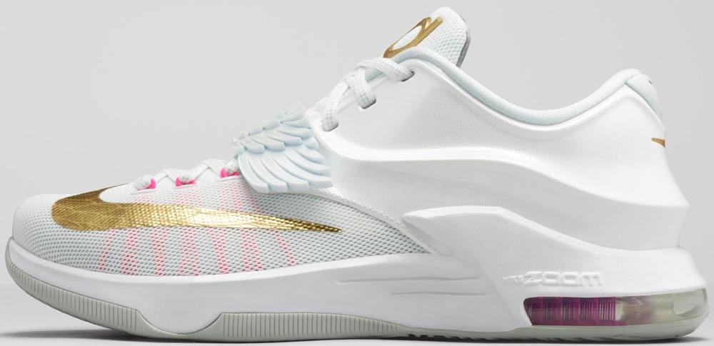 Nike KD VII Premium White/Metallic Gold-Pink Pow-Pure Platinum
