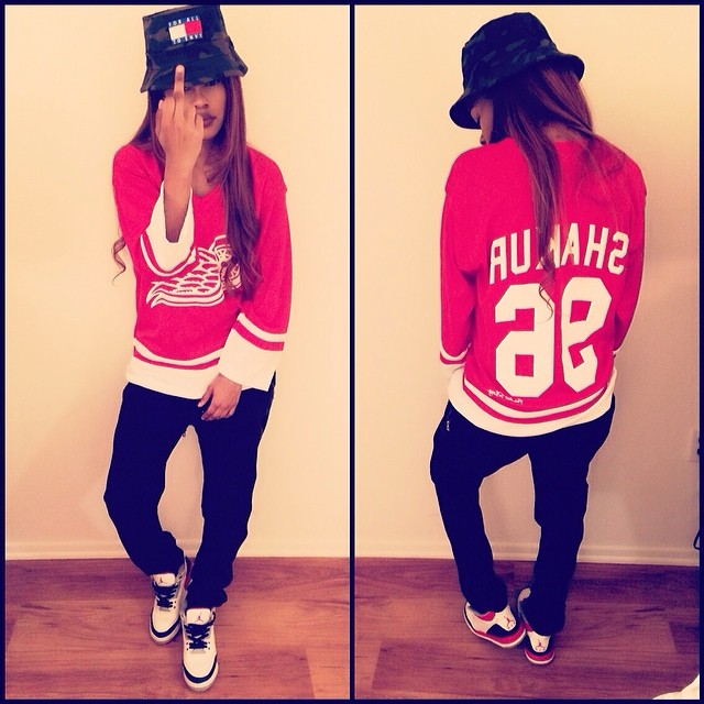 Teyana Taylor wearing Air Jordan 3 Retro Fire Red