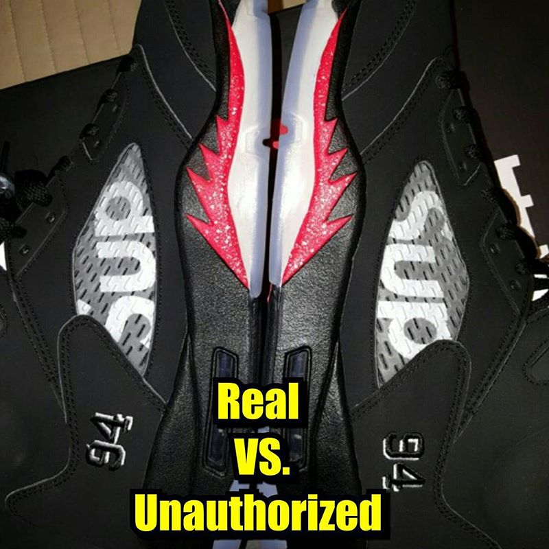 d5e143d7d4e How To Tell If Your 'Black' Supreme Air Jordan 5s Are Real or Fake ...