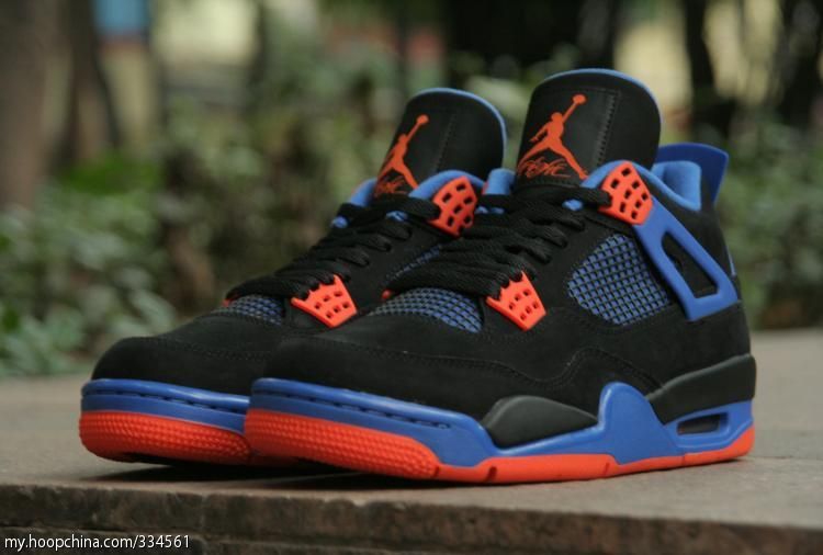 best website c086c e03cc Air Jordan 4 IV Cavs Knicks Shoes Black Orange Blaze Old Royal 308497-027 (