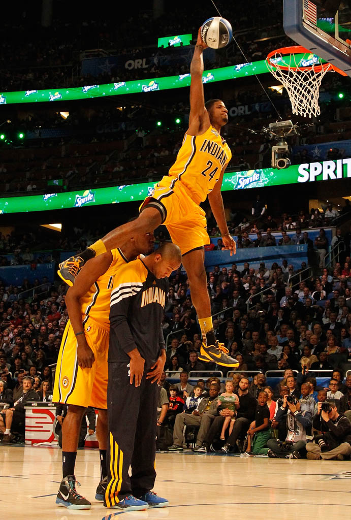 e1bc5ad5fb0 Paul George wearing Nike Zoom Kobe VII Shoes PE Pacers