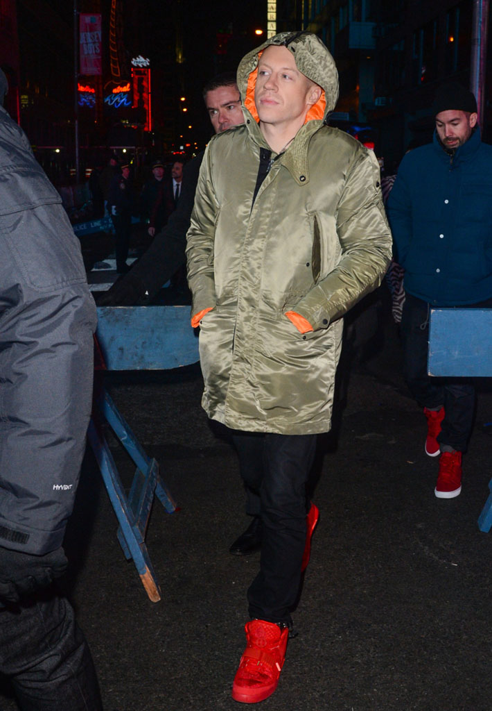 Macklemore wearing Nike Air Yeezy 2 Red October