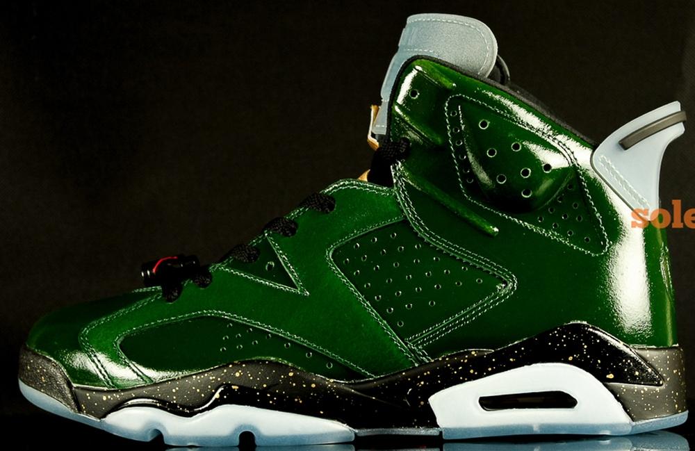 Air Jordan 6 Retro Pure Green/Metallic Gold-Chilling Red-Black