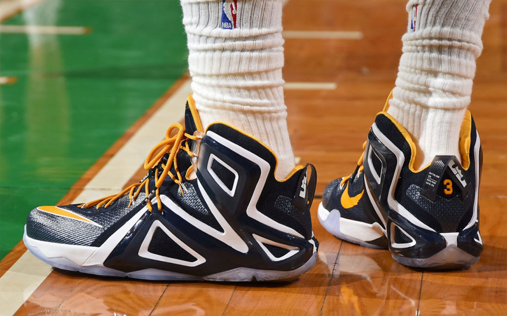 LeBron James wearing Nike LeBron XII 12 Elite Navy/White-Yellow PE