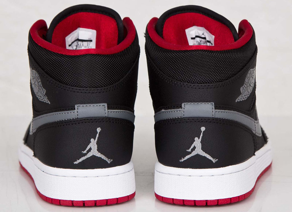 Air Jordan 1 Mid Black Cool Grey-Gym Red 554724-004 (3 ae420d54981
