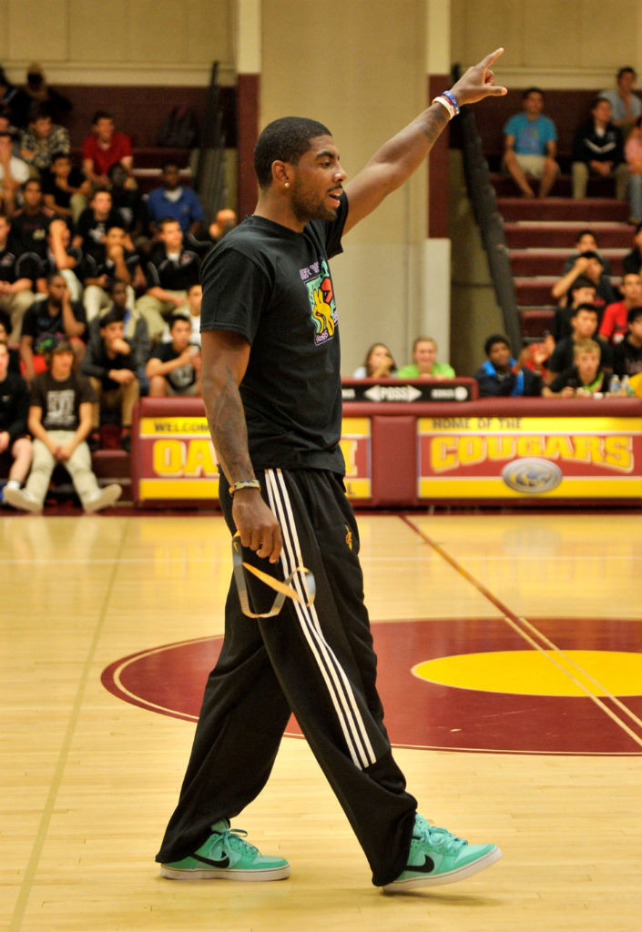 Kyrie Irving wearing Nike Dunk Low SB LR Crystal Mint