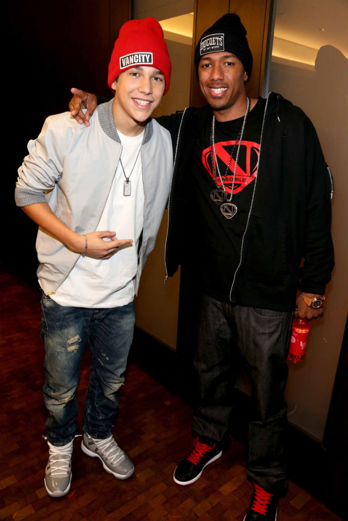 Austin Mahone wearing Air Jordan 11 XI Retro Cool Grey; Nick Cannon Air Jordan 1 I Retro J2K