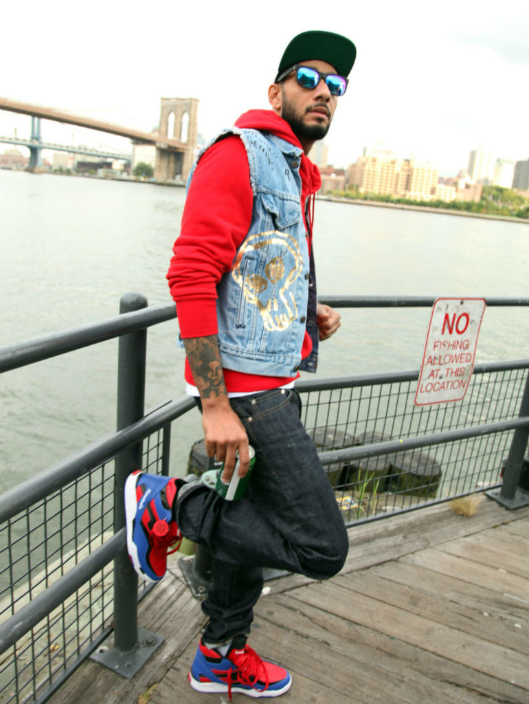 Swizz Beatz wearing Reebok Twilight Zone Pump Spider Man (6)