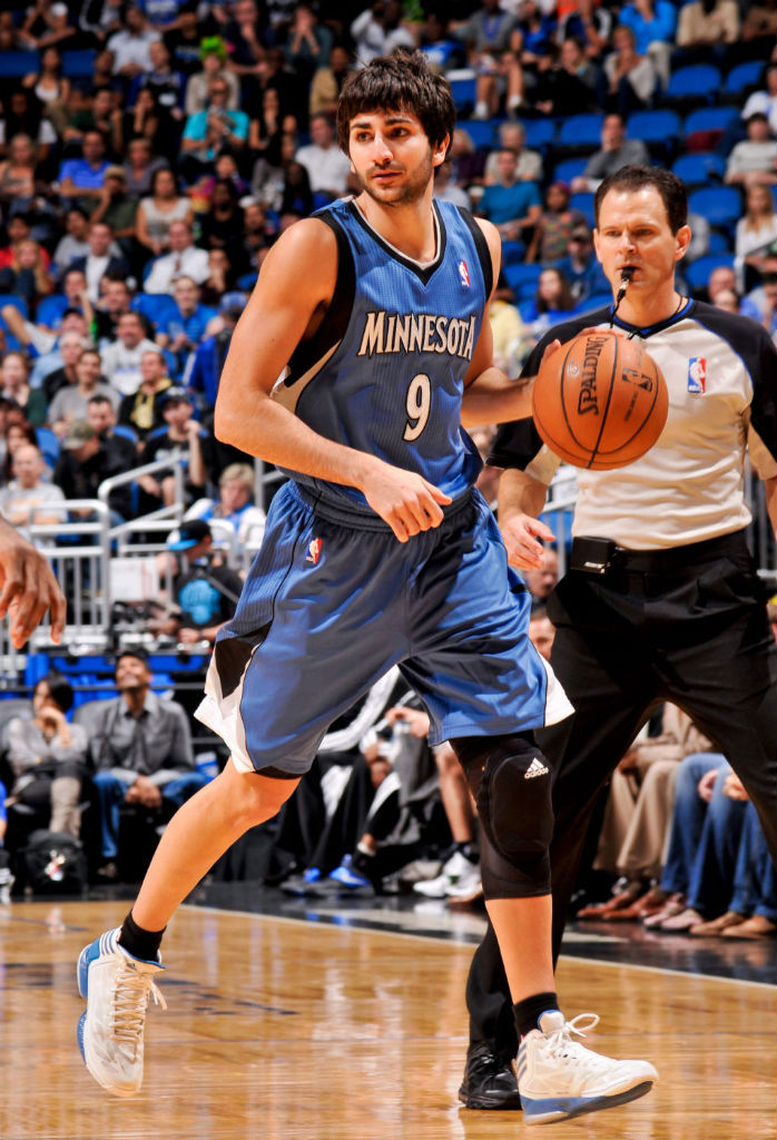 Ricky Rubio wearing adidas adizero Crazy Light 2 White Blue