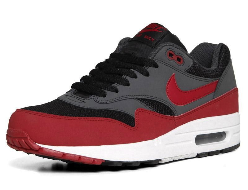 grey and red air max