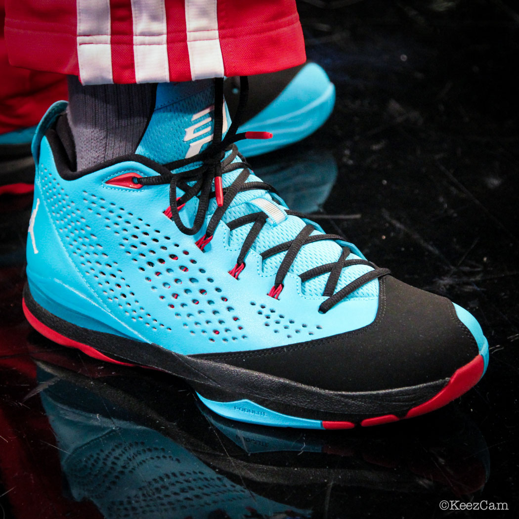 SoleWatch // Up Close At Barclays for Nets vs Clippers - Reggie Bullock wearing Jordan CP3.7 Gamma Blue
