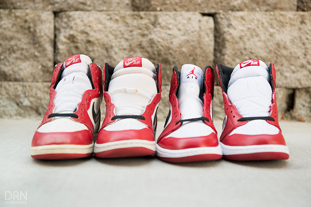 245dd440aee Air Jordan I 1 Chicago Bulls Comparison 1985 1994 2013 2015 Retro (13)