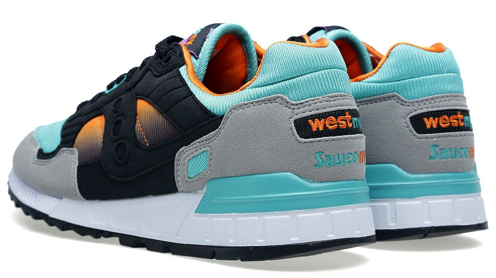West NYC x Saucony Shadow 5000 Tequila Sunrise heel