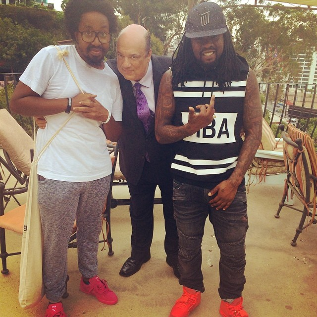 Wale wearing Nike Air Yeezy II 2 Red October