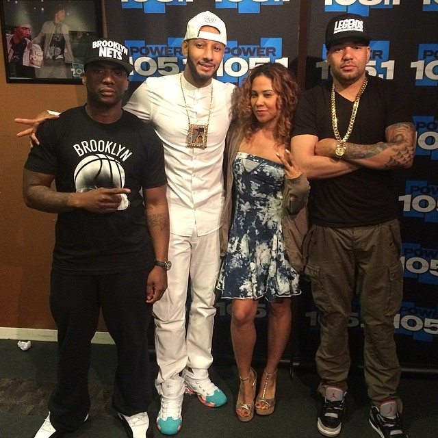 Charlamagne wearing Air Jordan XII 12;  DJ Envy wearing Air Jordan III 3 Black Cement