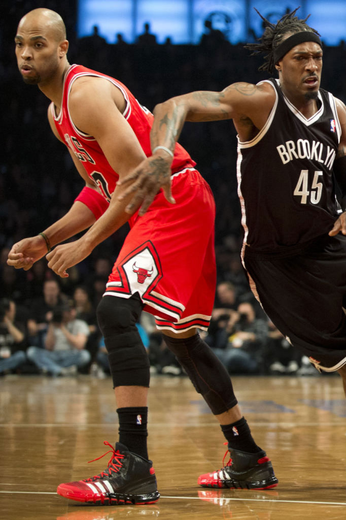 Taj Gibson wearing adidas Crazyquick Black Red