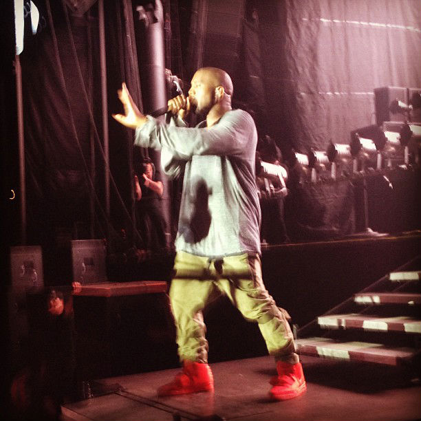 Kanye West wears Nike Air Yeezy 2 All-Red at Governor's Ball (5)