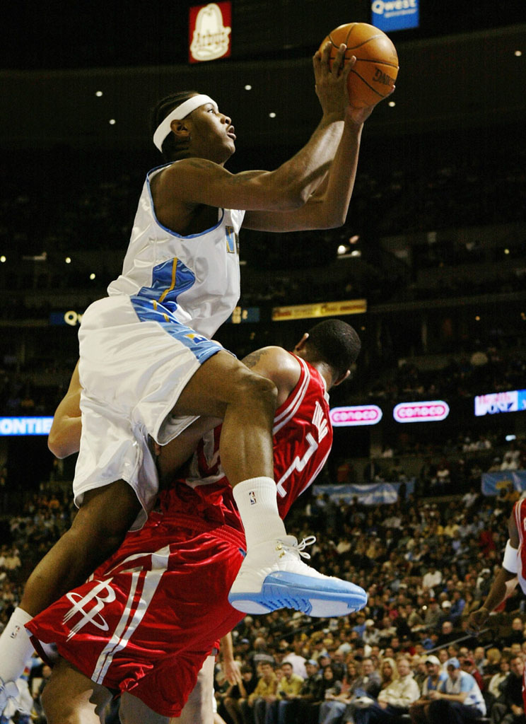Carmelo Anthony wearing Air Jordan 12 Nuggets Home PE (1)