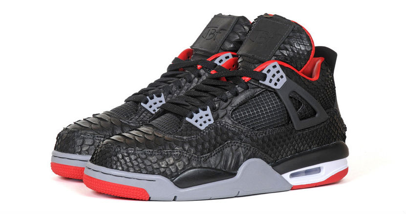 best service 76220 c4589 Air Jordan IV 4 Black Python by JBF Customs (4)